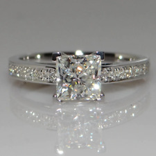 2.48 TCW Princess Cut Moissanite 4-Prong Engagement Ring 14k White Gold Plated
