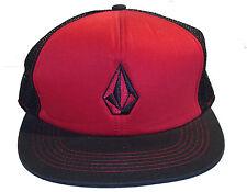 Volcom Full Stone Cheese Trucker Red and Black Mesh Snapback CapHat