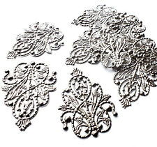 10 x Silver Plated Ornate Shape Filigree Stamped Embellishment Charm Decoration