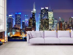 3D New York Manhattan Night View Self adhesive Wallpaper Living Room Wall Murals