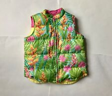 Lilly Pulitzer Girl's puffer vest sz L reversible down floral print striped