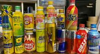 16 pcs. Japan ENERGY NRG drink cans bottle EMPTY Red Bull REAL GOLD sealed/open