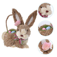 Easter Straw Woven Bunny Hand-woven Rabbit Animal Adornment Craft Home Ornament