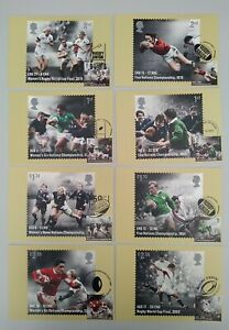 2021 Rugby Union PHQ Postcards set of 8 - 7 Different Postmarks USED FRONT