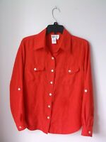 MEDIUM COLDWATER CREEK RED SILK BLEND BLOUSE EUC