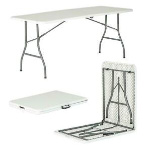 6ft Folding Trestle Table Desk Pop-Up Portable Garden Camping Party Picnic BBQ