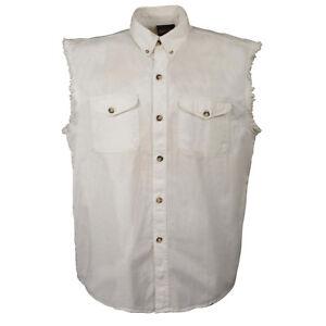 Milwaukee Performance Men's White Lightweight Sleeveless Denim Shirt  - DM4006