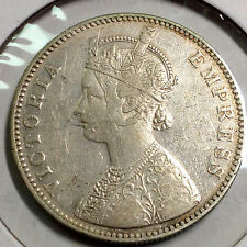 1884 BRITISH INDIA SILVER RUPEE BETTER DATE COIN