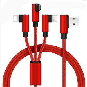 3 in 1 Fast Charging USB Cable Charger Support Type C  Andriod iPhone Interface