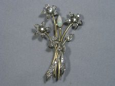 Vintage Petri 14k Gold and Platinum Diamond Opal Flower Brooch Pin