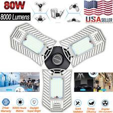 80W 8000LM Deformable LED Light Garage Shop Ceiling Work Lights Bright Lamp Bulb
