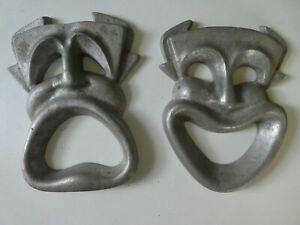 Masks of Drama, Comedy & Tragedy, Cast Aluminum, never painted, Wall Decor