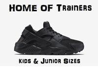 NIKE AIR HUARACHES RUN(GS)''BLACK OUT''KIDS/JUNIOR TRAINER TRIPLE BLACK ALL SIZE