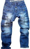 Mens combat jeans, Peviani  rock star denim, hip hop skate g stonewash urban