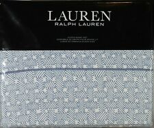 Ralph Lauren Queen Sheet Set Spencer Basketweave 4pc Sateen Cottage Fisher Blue
