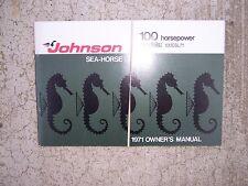 1971 Johnson 100 Hp Sea Horse Outboard Motor Owner Manual Model 100Esl71 Boat S