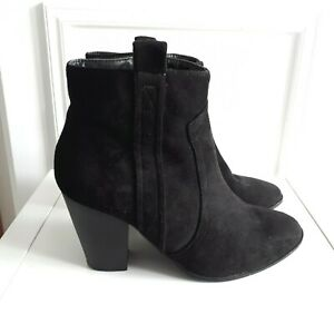 DOROTHY PERKINS Black Faux Suede Chunky Heel Zip up Ankle Boots Sz 7 / 41 E Wide