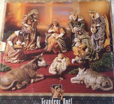 Grandeur Noel Nativity Figures Set Large 9 Piece Collectors Edition
