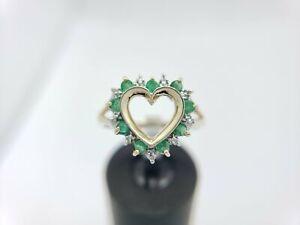 Estate 10k Yellow Gold Natural Green Round Emerald Diamond Heart Ring