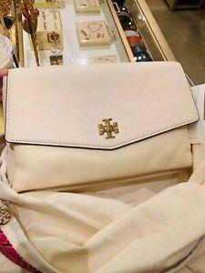 ❤NWT Tory Burch Large Kira Mixed Material Shoulder Bag $598 Creamy White