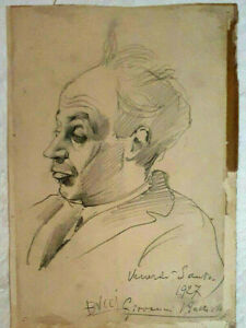 BUCCI Giovanni Battista, Pencil on Paper, Vintage Portrait SIGNED 24x17 cm, 1927