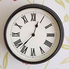 Gisela Graham Black High Gloss Deep Round Roman Numeral Metal Kitchen Clock