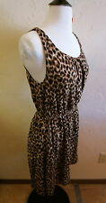 Lucky Women's Size Large Animal Print Leopard Grapic Tank Dress Brown/Back/Tan
