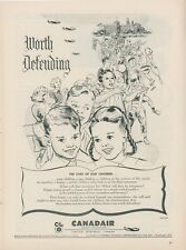 1954 Canadair Aircraft Ad Children Worth Defending Montreal Canada Advertisement