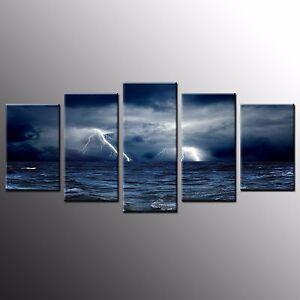 FRAMED Landscape Photo on Canvas Prints Lightning Wall Art Canvas Painting-5pcs