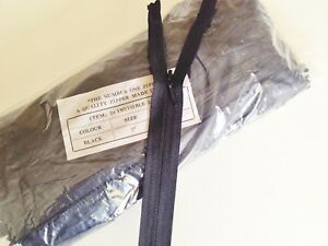"""BARGAIN 100 BLACK 7"""" INVISIBLE CLOSED END ZIPS"""