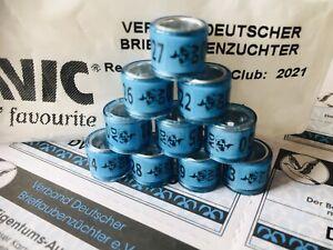 Brieftaubenringe DV 2021 neu mit Eigentums-Ausweisen 10 Taubenringe pigeon rings