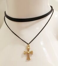 Gold Gothic Celtic Cross Pendant PU Leather Double Layer Choker Necklace Chain