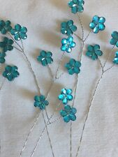 18 Tiny Turquoise Daisy On 6 Wire Stems Wedding Bridal Flowers Floral Craft