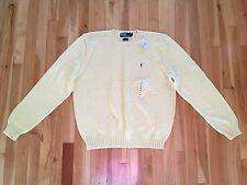 Ralph Lauren Polo Men's XL 100% Cotton Crewneck Sweater - Light Yellow - NWT