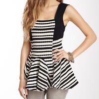 Free People Black White Sedwick Striped Knit Peplum Tank Top Blouse Size M