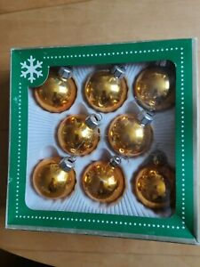 VINTAGE GOLD GLASS XMAS TREE BAUBLE DECORATIONS IN ORIGINAL BOX