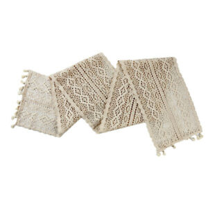 Cotton Crochet Table Runner Lace Tablecloth Supplies Home Hollow Table Cover FI