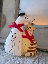 Stuffed Cat And Dog Soft Sculpture Christmas Ornament Hand Painted