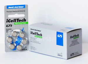 iCellTech or Zenipower Size 675 Hearing Aid Batteries PR44, P675 Expires 2024