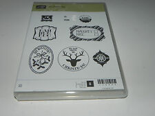 Stampin Up Very Merry Tags CLEAR Mount Stamp Set NEW Reindeer Christmas Naughty
