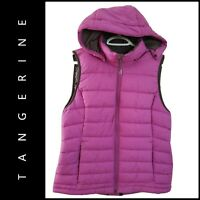 Tangerine Women Full Zip Puffer Hoodie Vest Size Large Purple