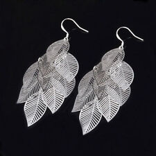 Nice New Sterling Silver Plated Long Layered Leafy Dangle Drop Earrings
