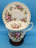 Royal Albert ROSES Bone China Tea Cup & Saucer Flower Of The Month Series JUNE