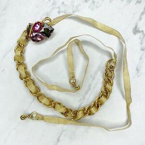 Baby Phat Gold Tone Rhinestone Ribbon Belly Body Chain Link Belt One Size
