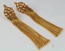 Gold Plated Indian Traditional Kundan Polki Dangling Jewelry Earring Women Polki