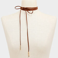 "Choker Necklace Long Faux Suede Tie On Wrap Around 50"" BROWN GOLD Trendy Jewelry"
