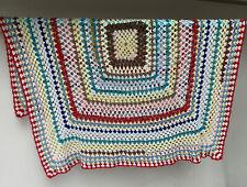 Vintage Hand Crocheted Knitted Afghan Granny Throw Blanket Camper-van Caravan