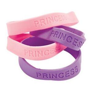 Rubber Princess Bracelets Pink Purple Girl Party Favors (1 dz)