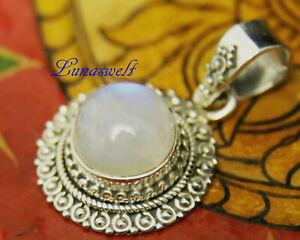 Mondstein Silberanhänger Sonne  Anhänger Mondstein in 925 Silber am Band Indien
