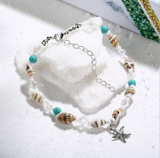 Fashion Women Boho Beach Turquoise Beads Pendant Chain Anklet Bracelet Anklet